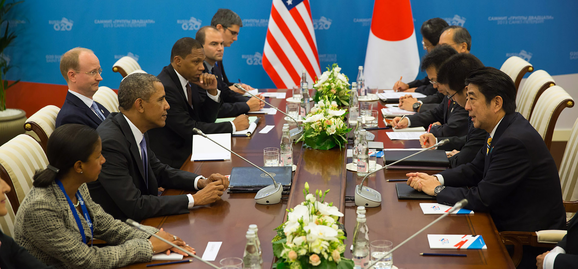President Obama at a bilateral meeting with Prime Minister Abe of Japan in 2013. On his right is former US National Security Advisor, Susan Rice.